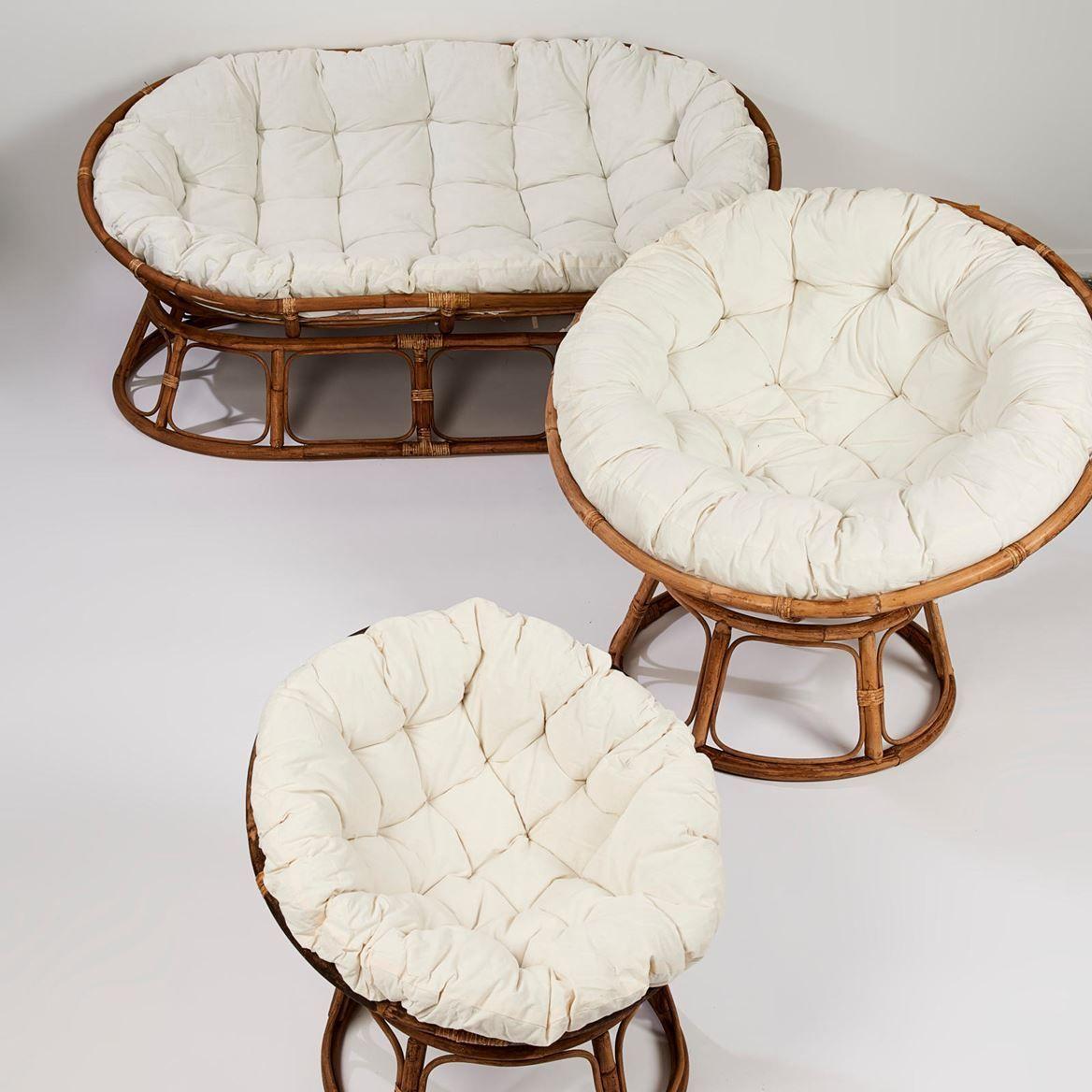 Papasan Chaise Lounge Naturel Blanc Casse H 85 Cm O 113 Cm In