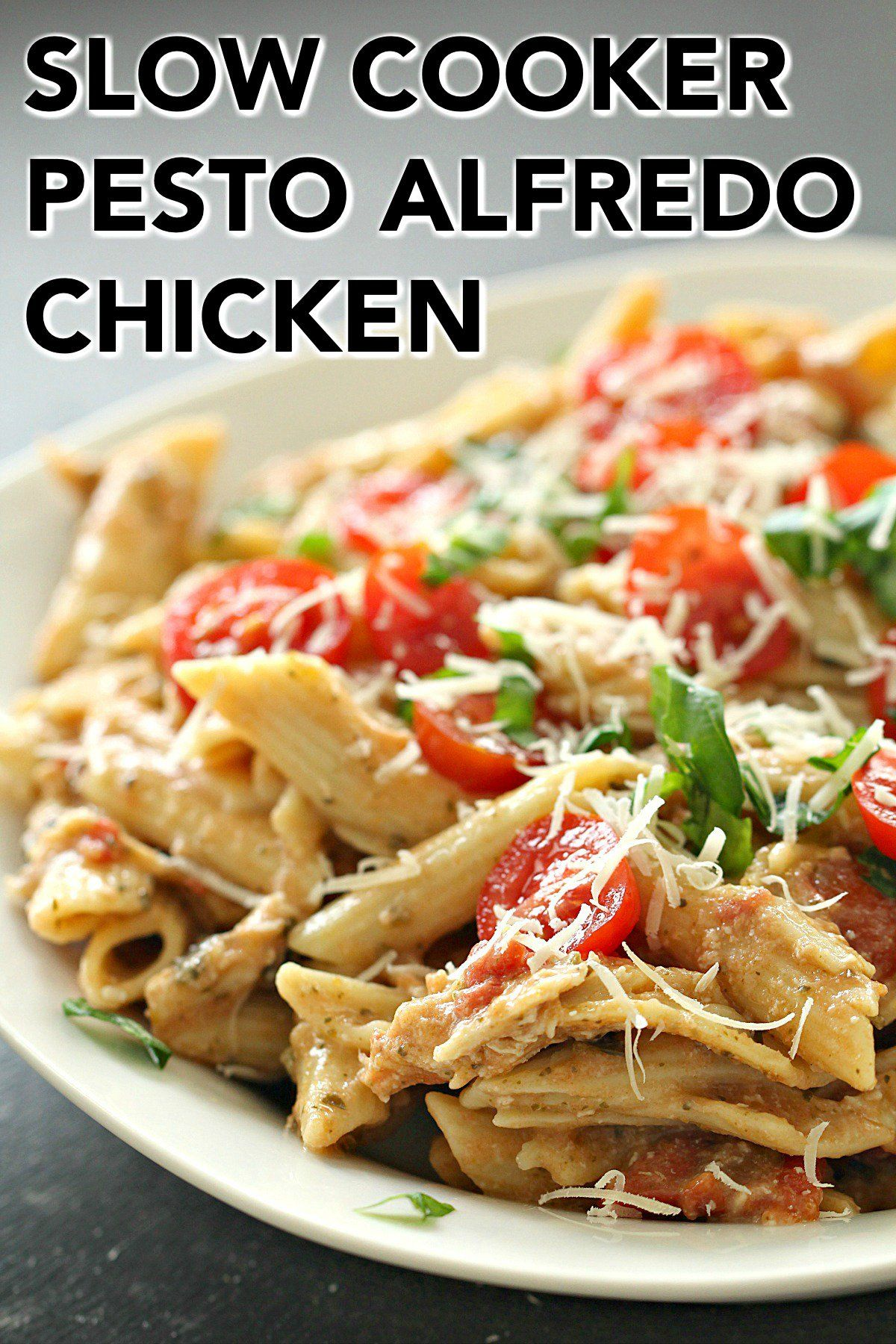 Slow Cooker Pesto Alfredo Chicken and Pasta images