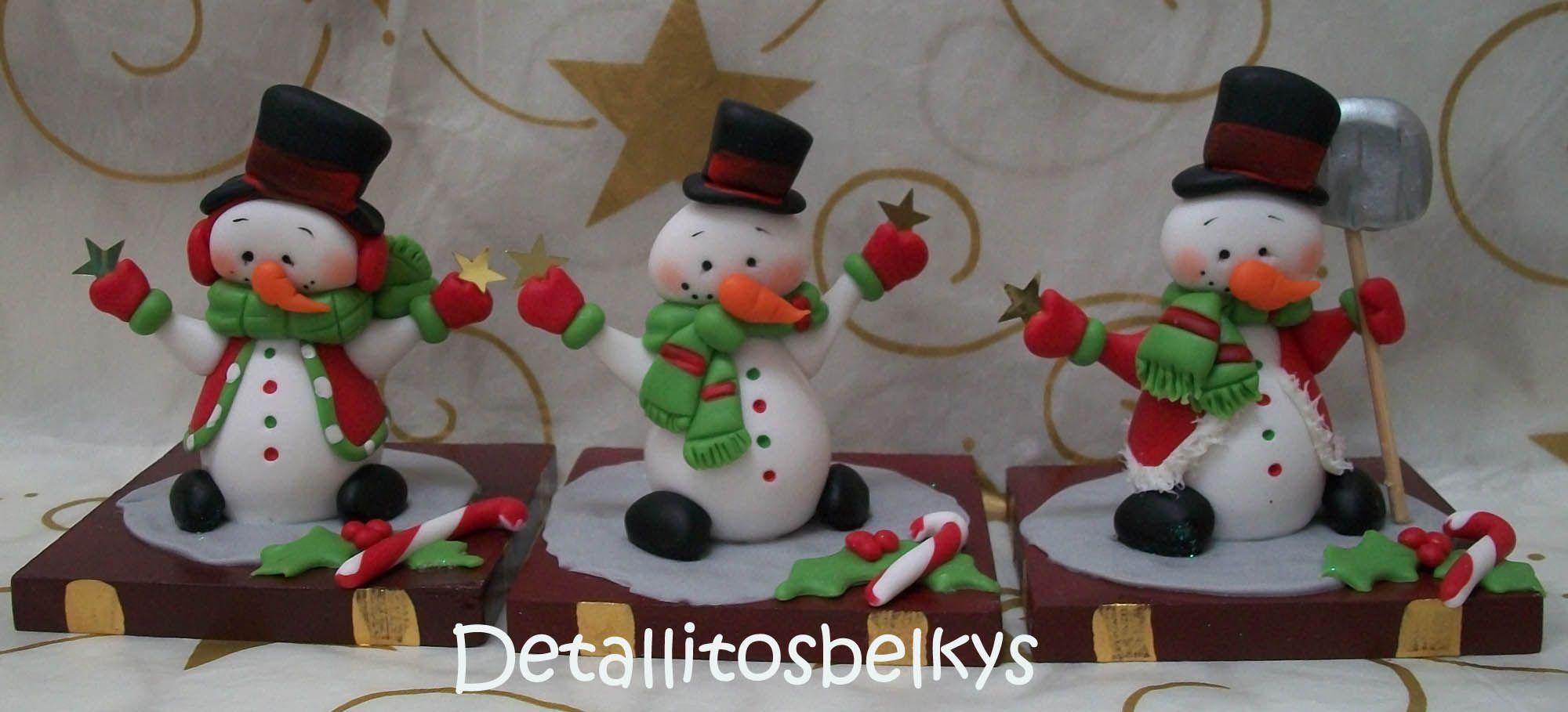 #snowman muñecos de #nieve modelados en #porcelana fría