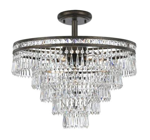 Mercer 6 Light Hand Cut Crystal Bronze Semi Flush