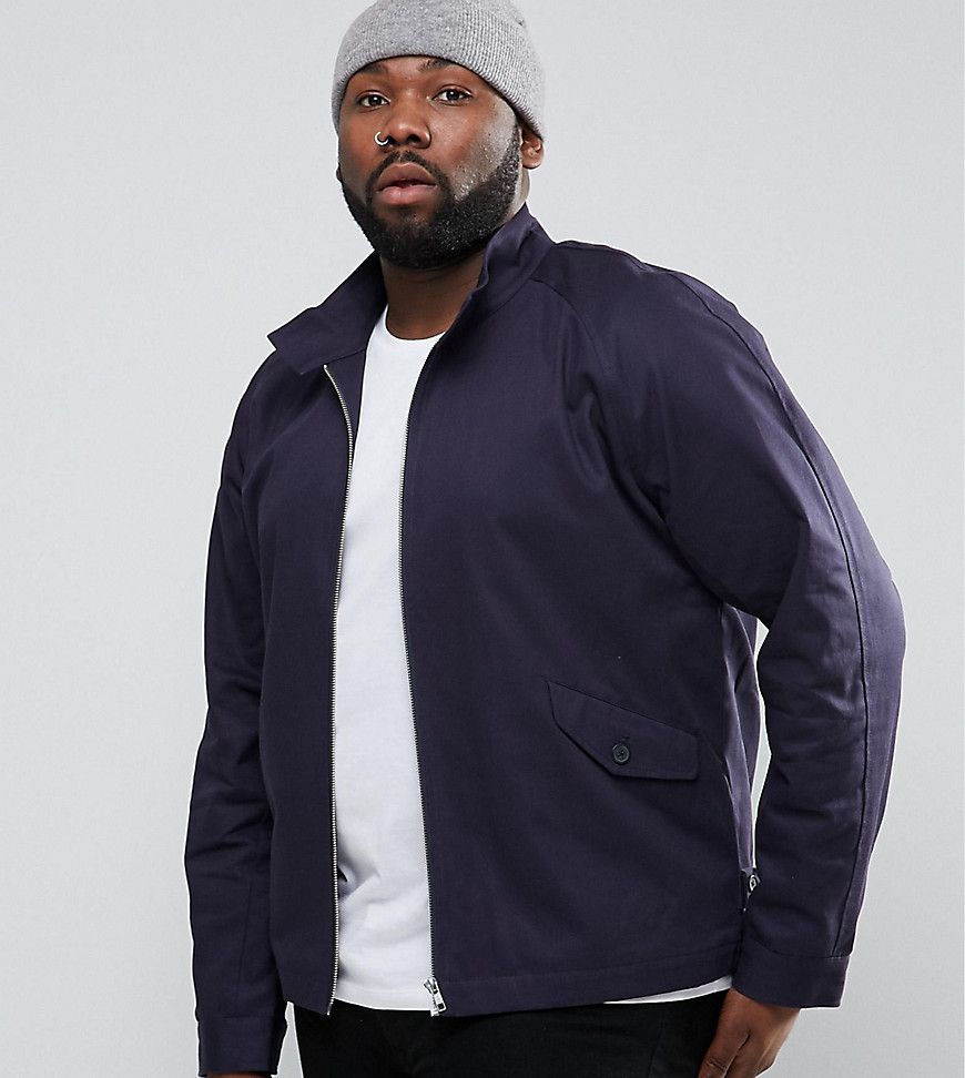 ASOS PLUS Harrington Jacket With Funnel Neck In Navy - Navy