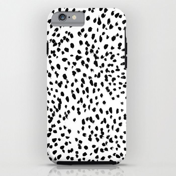 Nadia - Black and White, Animal Print, Dalmatian Spot, Spots, Dots, BW iPhone & iPod Case