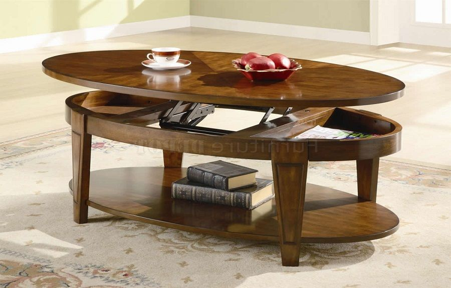 Oval Lift Top Coffee Table Cherry Comqt Decor