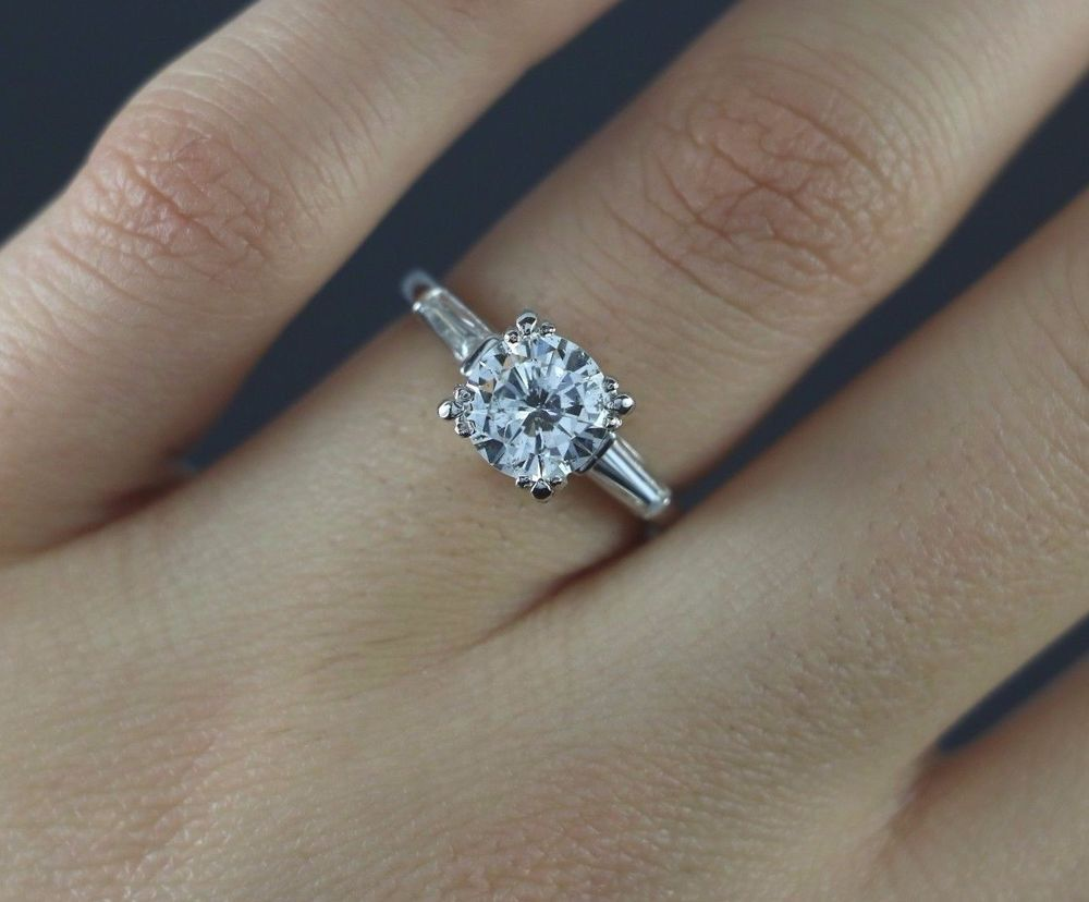 17 500 Egl Us Platinum 1 75ct Round Baguette Diamond Engagement Ring Size 6 Ebay Engagement Ring Sizes Diamond Engagement Rings Band Engagement Ring
