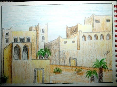 1601 كيفية رسم بيوت شعبية تعليم الرسم للمبتدئين رسم الاحياء الشعبية Youtube Boho Painting Painting Art