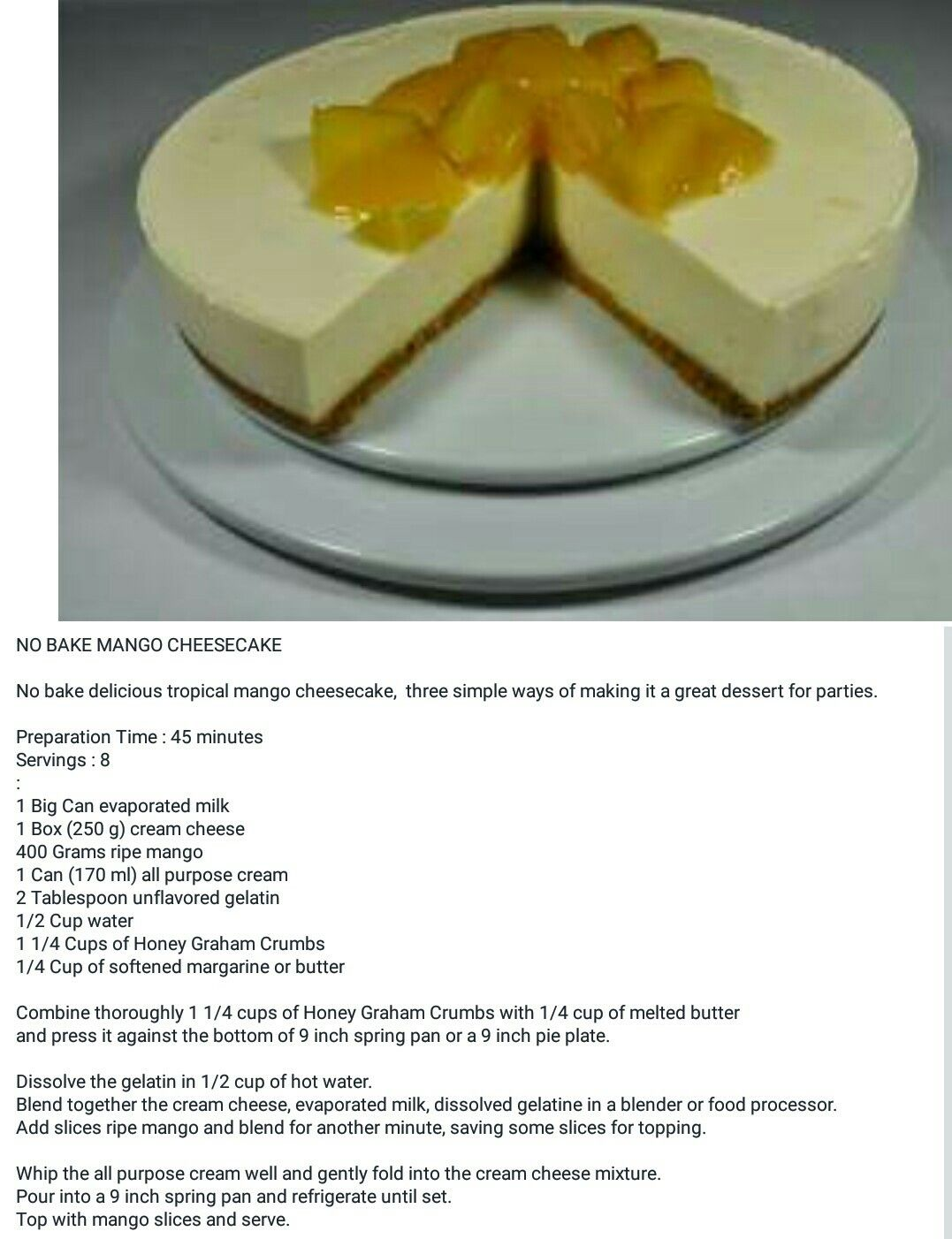 Pin By Brenda Van Zyl On Sweet Treats Mango Cheesecake Great Desserts Desserts