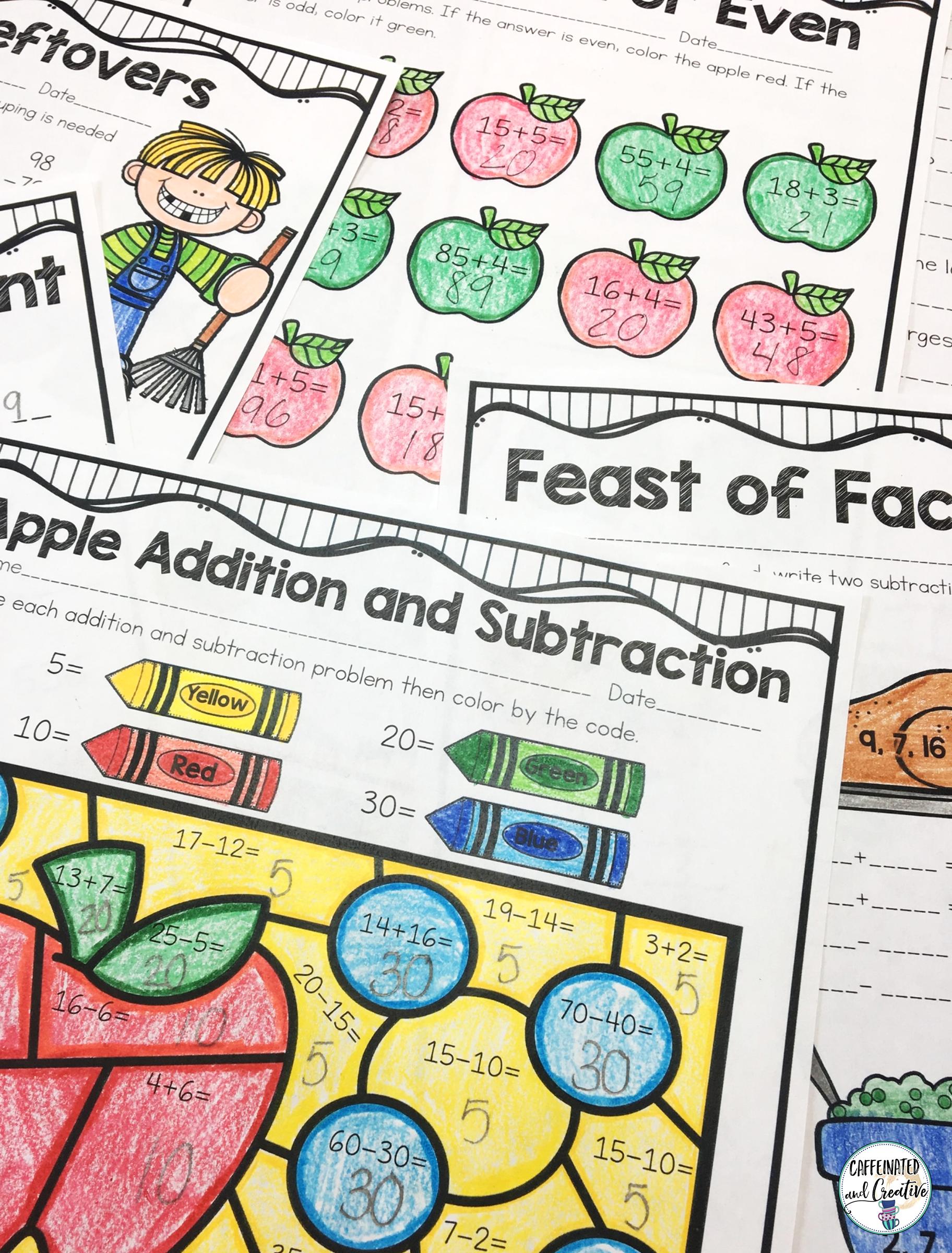 Fall Math Pack No Prep Second Grade