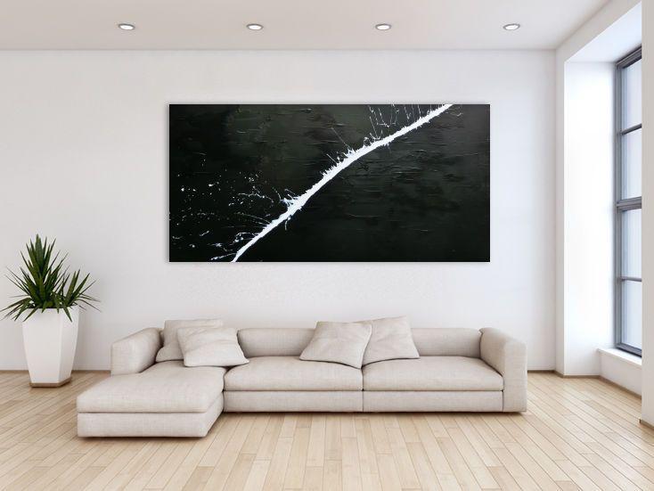 minimalistisches acrylgem lde abstrakt moderne kunst schwarz wei home kunst acryl en gem lde. Black Bedroom Furniture Sets. Home Design Ideas
