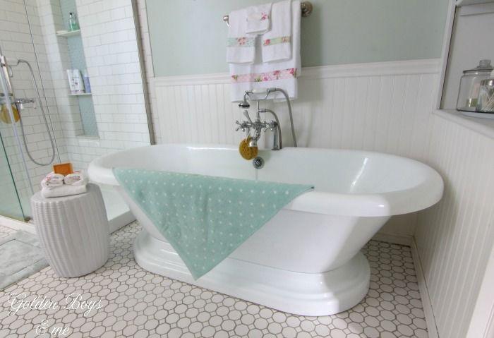 Ideas For Adding Vintage Charm In The Bathroom | Pedestal tub, Tile ...