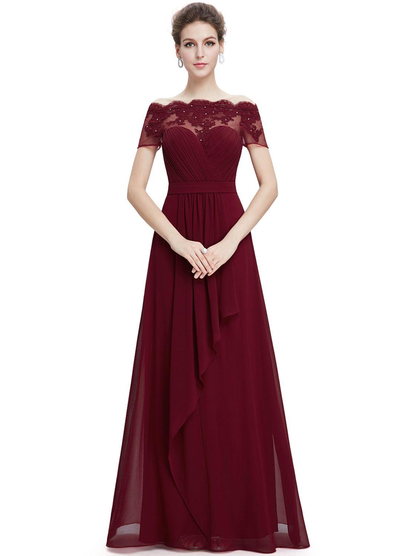 Short sleeve floral lace maxi prom evening dress bridal wedding