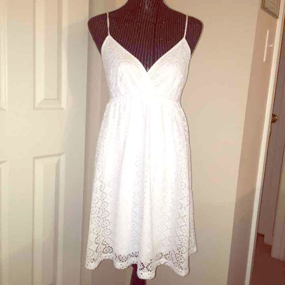 White lacey sun dress! No tag but never been worn Beautiful summer dress with a lovely lace pattern. V-neck and perfect for day or night! #dress #cute #summer originally $48, knocked down to only $20bucks! Express Dresses Midi