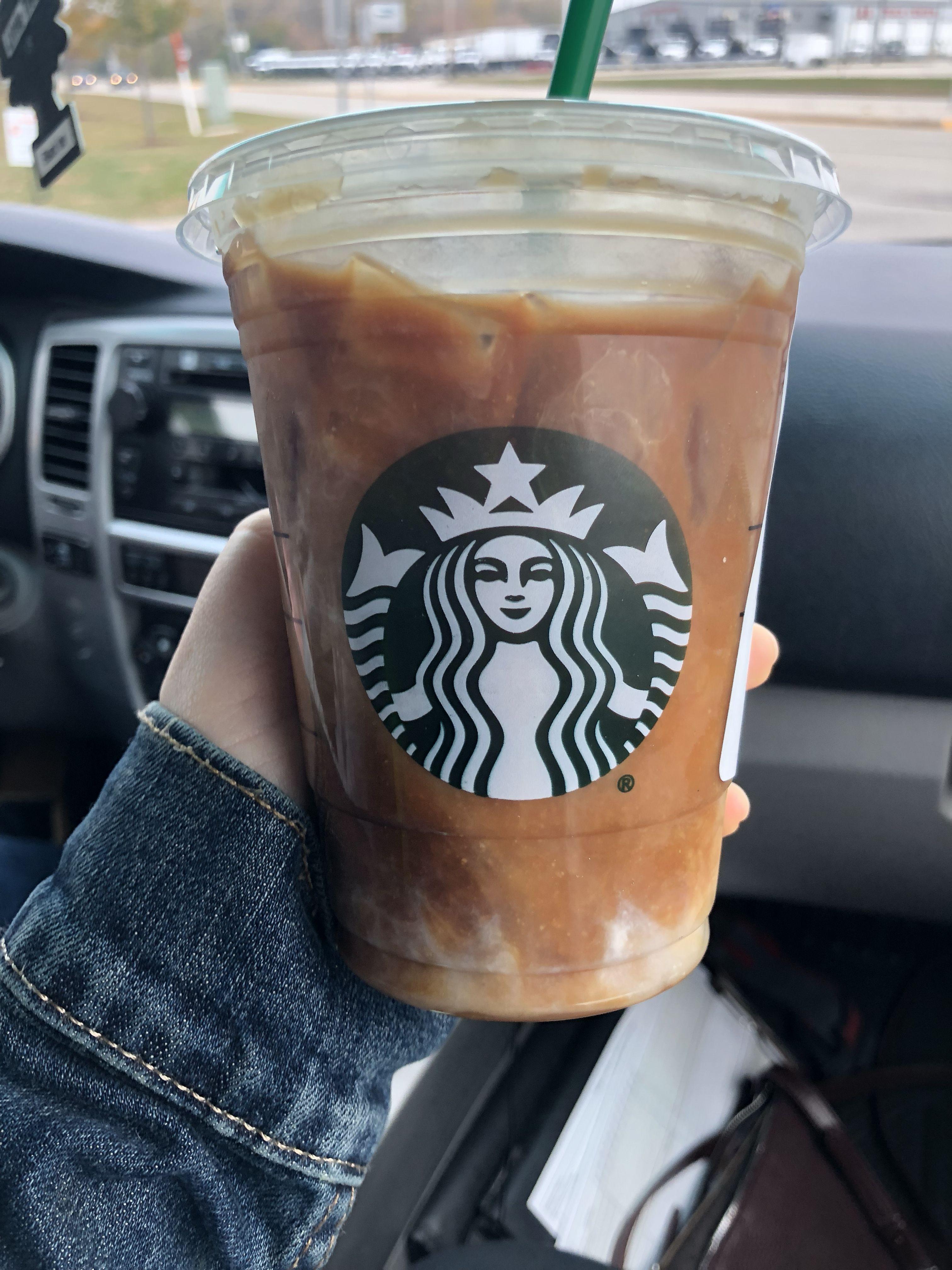 starbucks black iced coffee with almond milk
