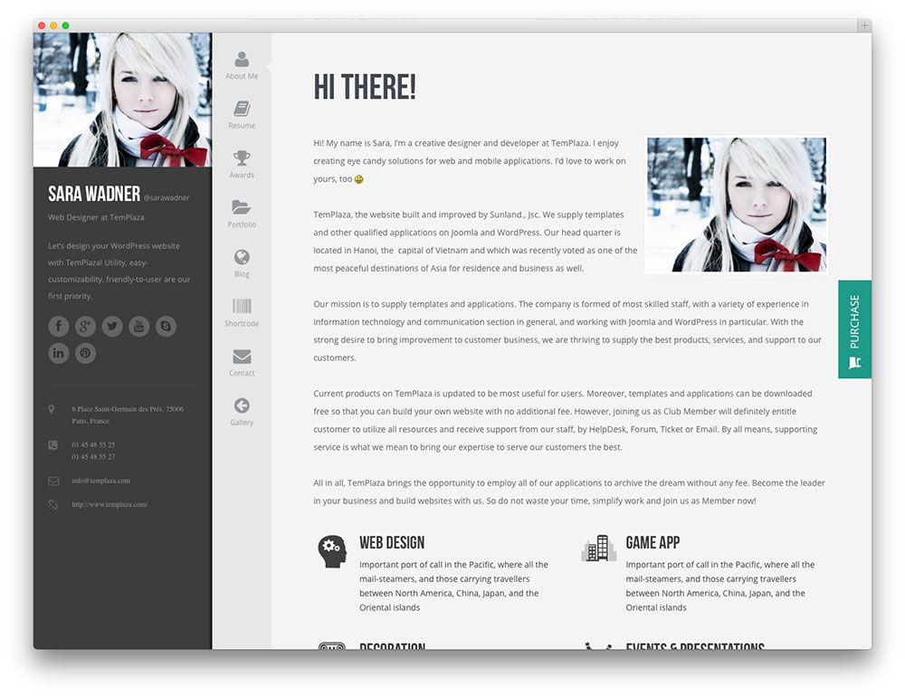 Profiler - beautiful resume theme WordPress vCard Template - resume wordpress theme