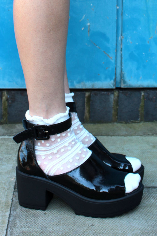 e788f11c7  White  Dot  Sheer  Socks  amp  Black  Leather Chunky  Heel