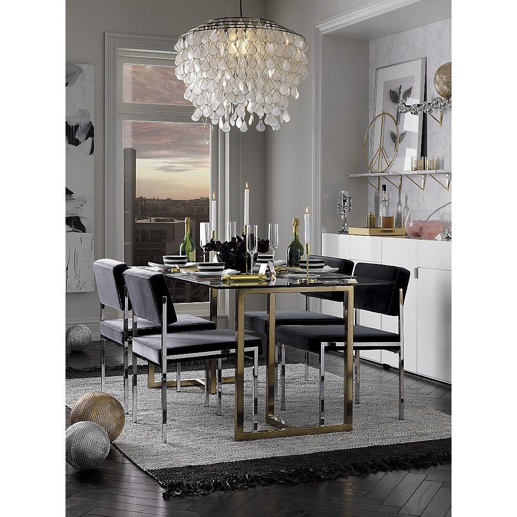 Silverado brass 72 rectangular dining table Capiz chandelier