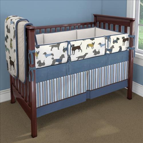 Blue Doggy Days Custom 4 Piece Crib Bedding Set
