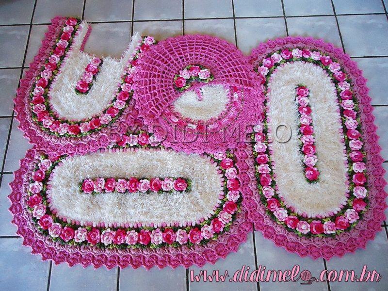 Jogo De Banheiro Classic Rosa Passo A Passo : Jogo de banheiro brinco princesa croches