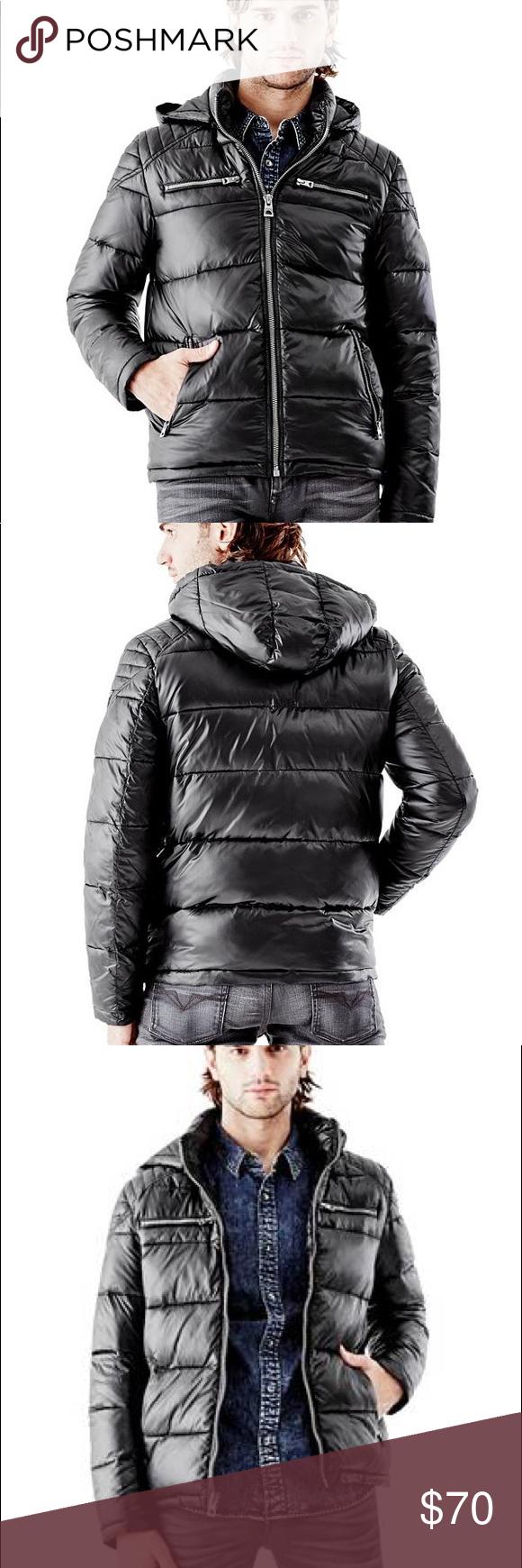 Guess Atlas Hooded Puffer Jacket Coat Black Mens L Black Coat Coats Jackets Jackets [ 1740 x 580 Pixel ]