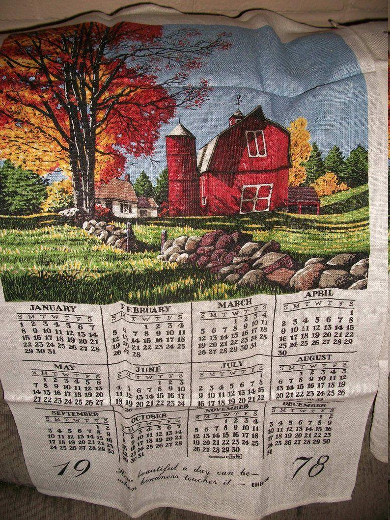 Vintage 1978 Or 1979 Calendar Tea Towels Butterflies Or Barn