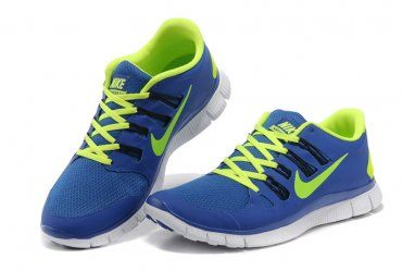 online store 9d32a d042b Nike Free 5.0+ Womens Blue Fluorescence Green Running Shoes ...