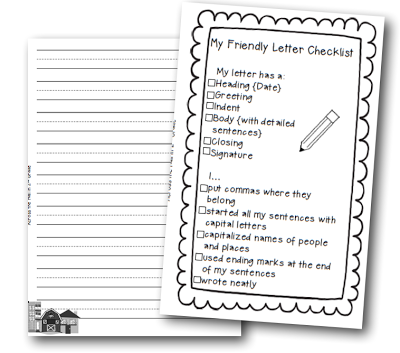Friendly Letter Checklist  Classroom Themes