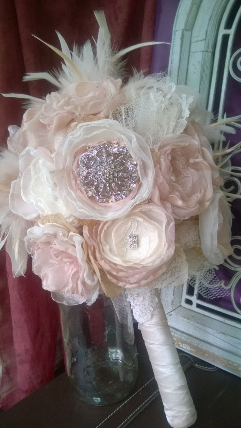 1920's themed wedding decorations  Bridal Bouquet Rhinestones and Feathers Gatsby themed wedding