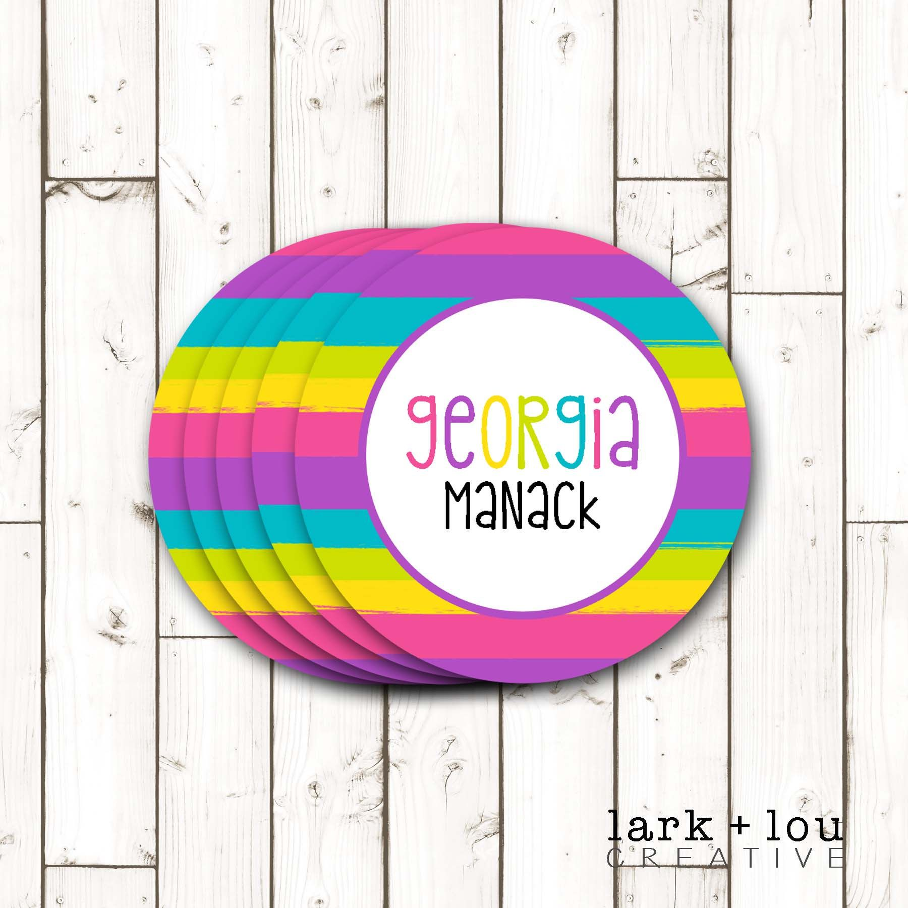 Custom personalized stickers labels rainbow stripes choice of size and circle or square by larkandloucreative on etsy