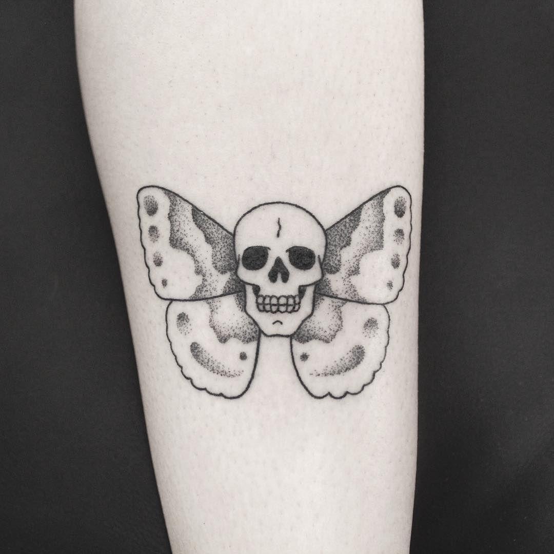147f52297 Skull Butterfly: Dotwork Stick and Poke Tattoo | Handpoked Tattoo ...