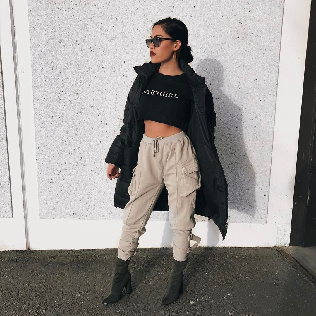 Winter Fashion Trench Duster With Black Croptop High Waisted Joggers And Skin Tight Boots
