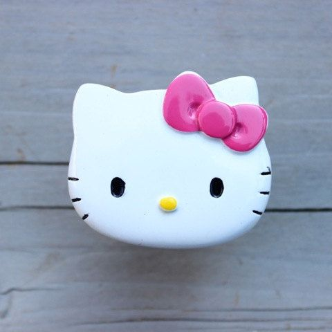 Hello Kitty Drawer Knobs Cabinet Pull With Pink Bow Made With Licensed Materials