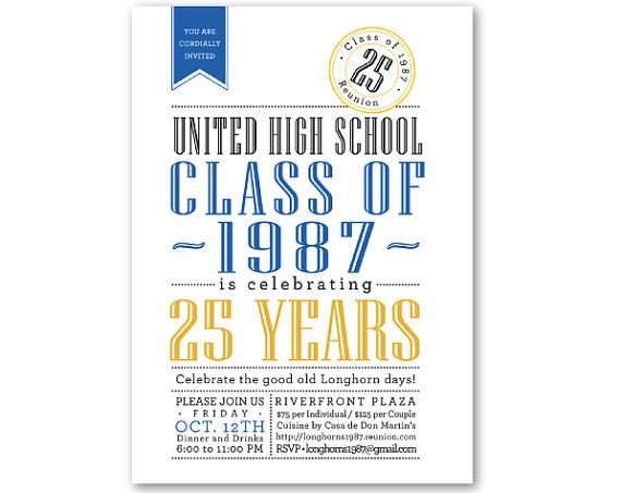 CLASS REUNION Invitations - Blue, Gold, CUSTOM color - Digital - class reunion invitations templates