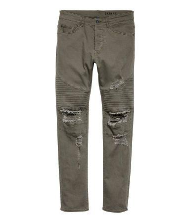 Vaquero Motero Verde Caqui Oscuro Hombre H M Cl Ripped Jeans Men Biker Jeans Hoodie Fashion