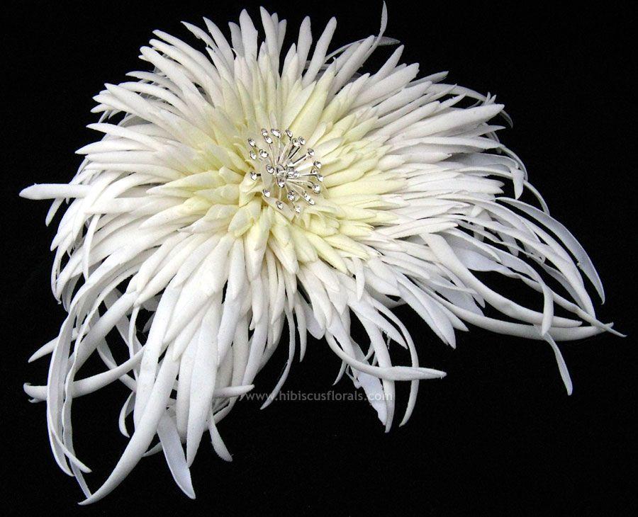 Large White Real Touch Spider Mum Wedding Flower Hair Fascinator