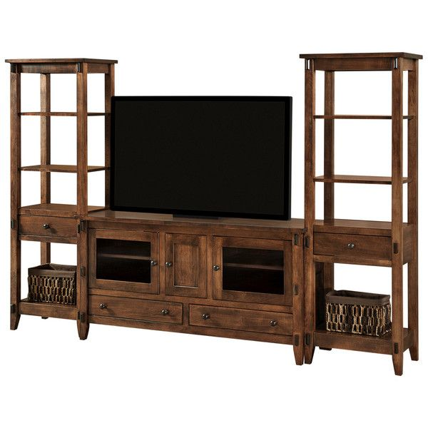 Bungalow Open Media Wall Unit   Amish Tables Choose Your Size, Wood U0026 Finish