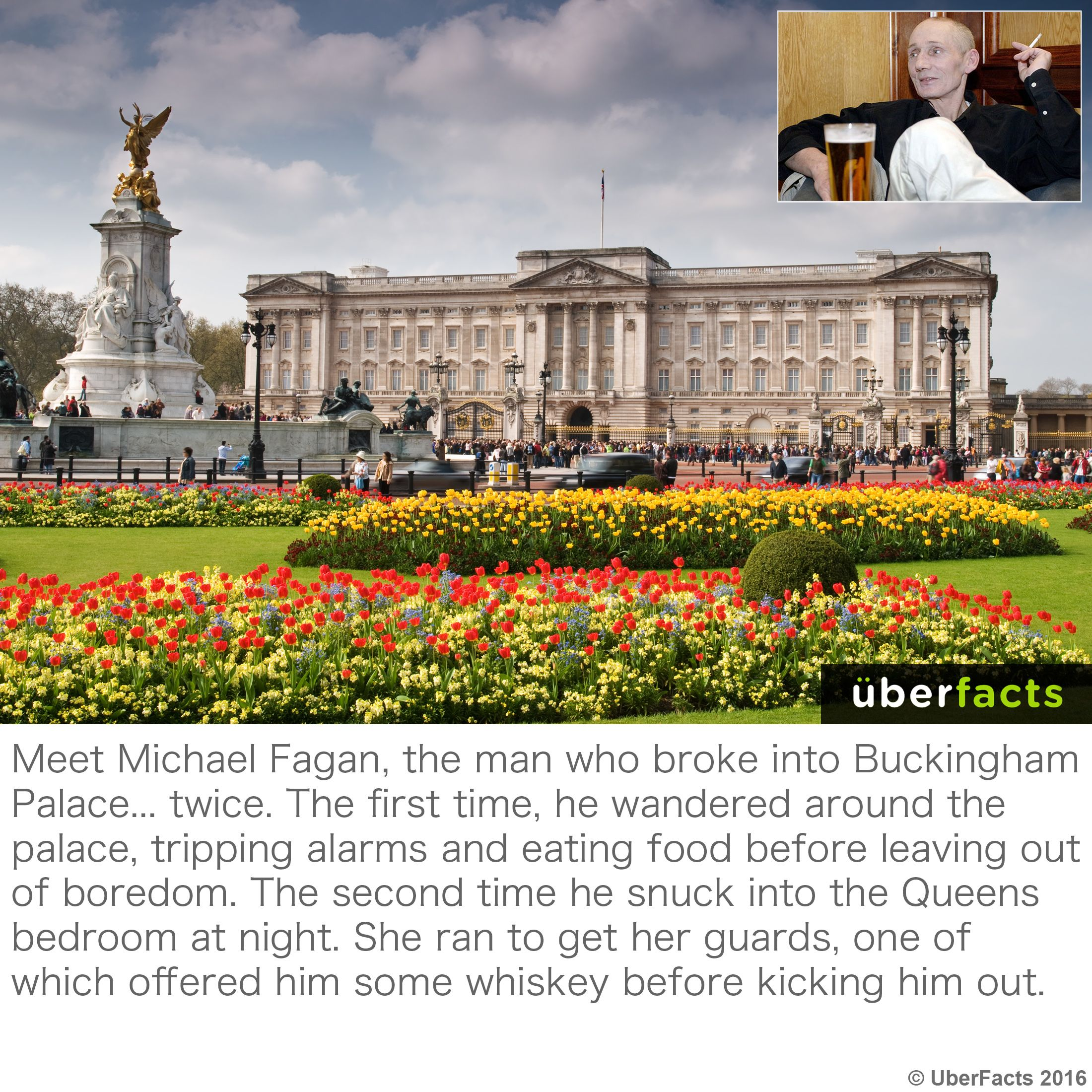 Buckingham Palace Intruder Michael Fagan Given Whisky By Queen S Staff Funny Instagram Memes Wtf Fun Facts Weird Facts