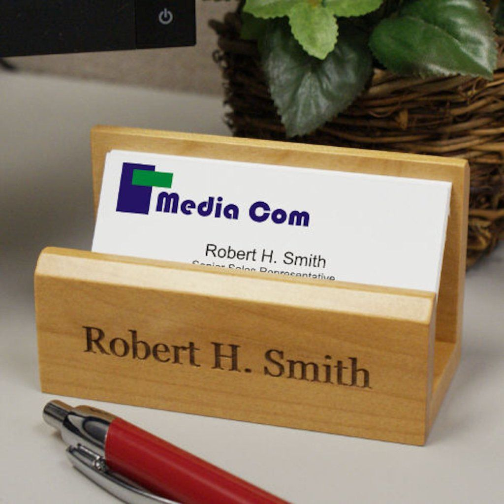 Personalized wood Business Card Holder - Gifts Happen Here