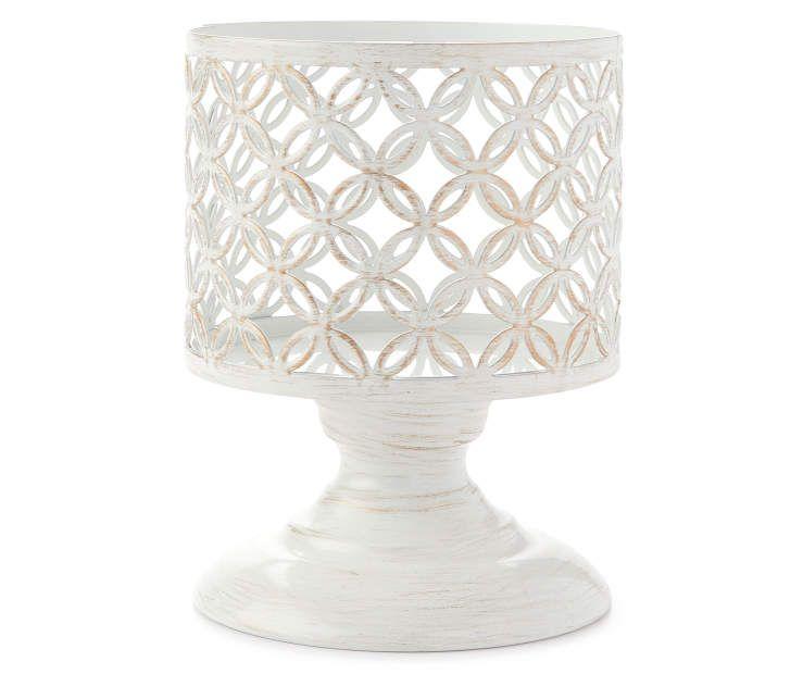 Living Colors White Pedestal Candle Holder Candle Pedestal