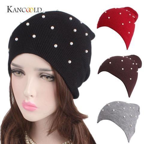 c48b29b78cd KANCOOLD Bandanas Wrap Cap Fitted Stretchable Women Ladies Winter Knitting  Hat Warm Hat Cap Pile Cap Ski Cap gloves jan29