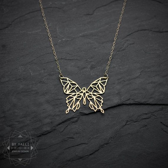 Butterfly Necklace Geometric Necklace Origami Necklace