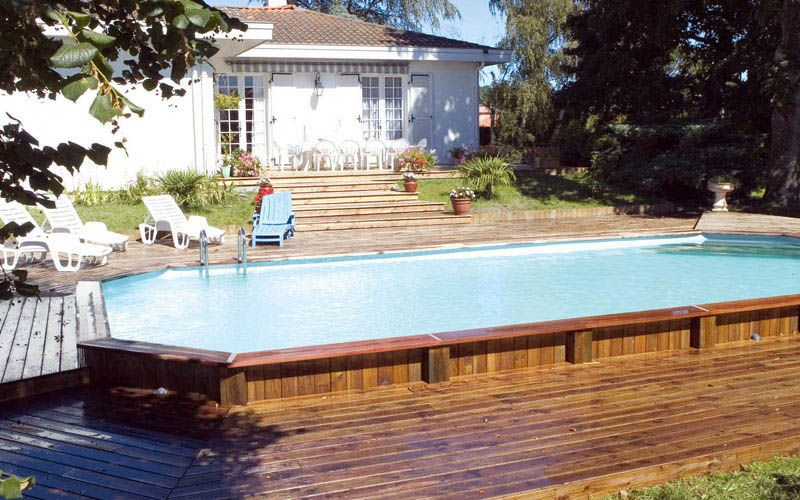 above ground pools decks idea | semi in ground pools with natural
