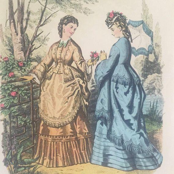 French Ladies Fashion Costume Print Illustration - signed Leroy Imp Paris La Mode Illustree Wall Art Picture Victorian Edwardian decor by WonderCabinetArts
