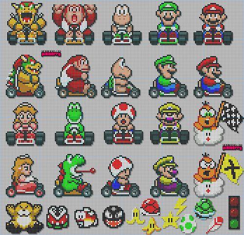 Mariokart Sprites Pixels Http Odysseedupixel Fr Wp Content Gallery Super Mario Kart 3782639323 9deda49496 Jpg Perler Bead Mario Cross Stitch Super Mario Kart