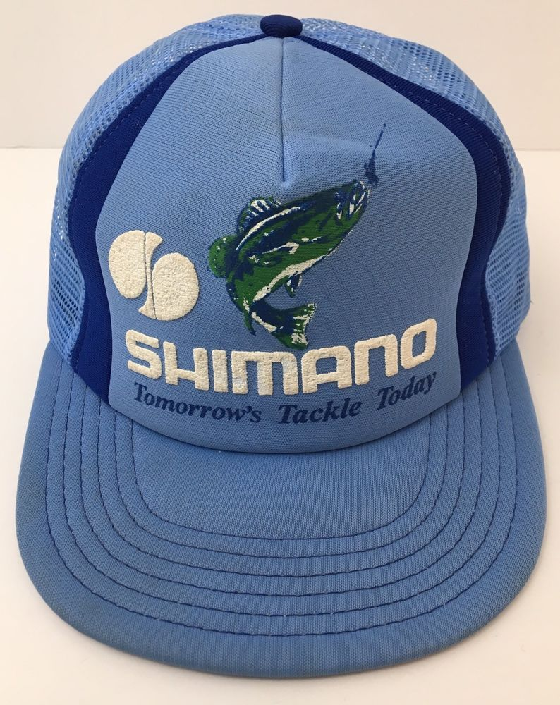 6711cafe132bb Vintage USA Shimano Fishing Foam Trucker Hat Mesh Tomorrows Tackle Today  Blue  Shimano  TruckerHat