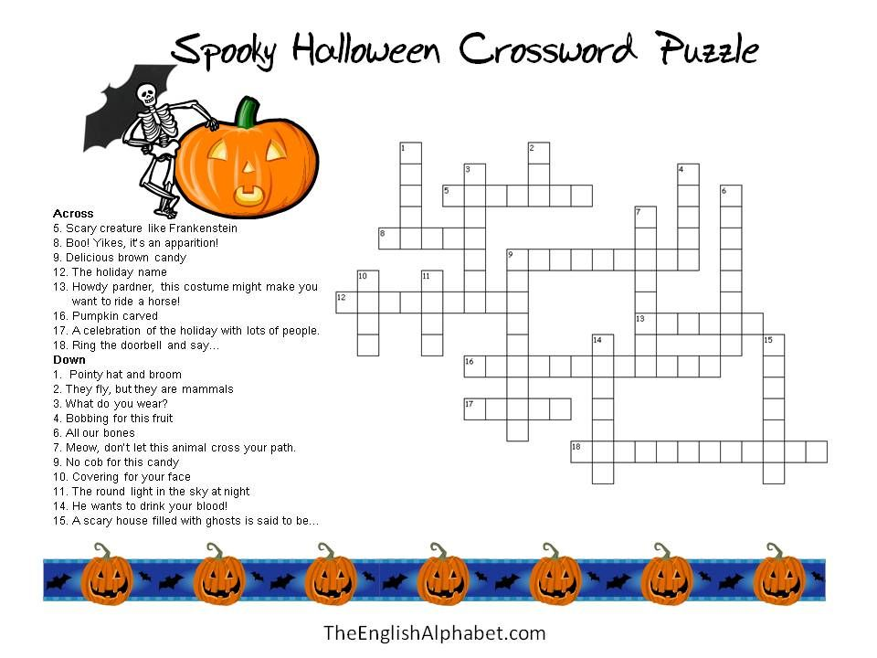 graphic relating to Halloween Crossword Puzzle Printable identified as Young children+Halloween+Crossword+Puzzles+Printable Crosswords