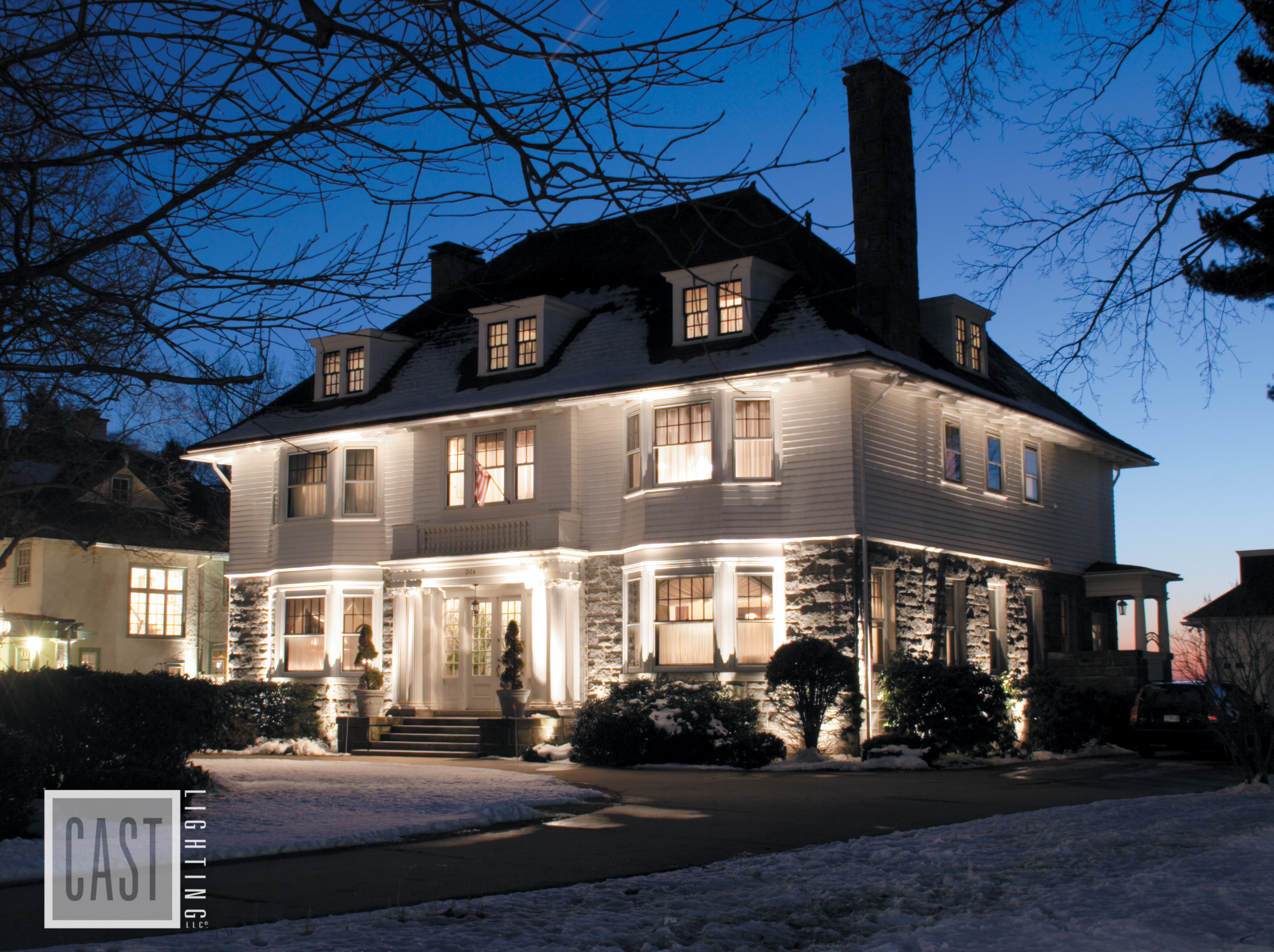 Lovely Landscape Lighting Using Cast Fixtures To Showcase This Gorgeous White Colonial In Freshly Fallen Snow We Love Simple Uplighting And