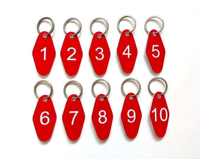 engraved key rings keyring Sets of numbered acrylic hotel key tags,key fobs