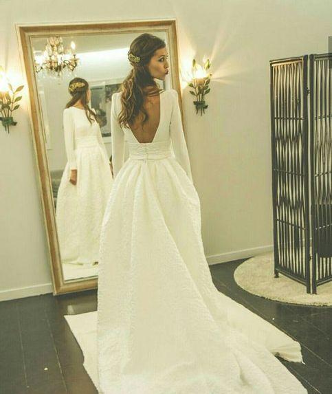 Romantic Wedding Dresses Princess Backless With Long Sleeves Satin Skirt Elegant White Sim Beautiful Wedding Dresses Wedding Dress Long Sleeve Backless Wedding