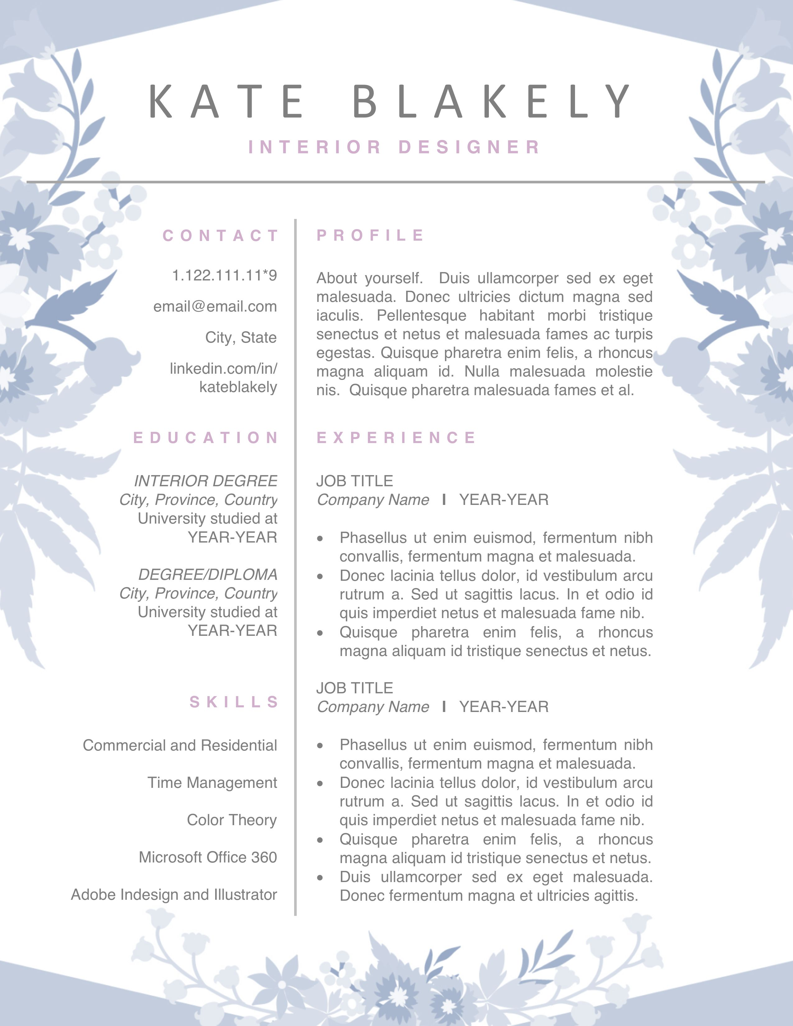 Floral Resume Cv Template Instant Download Editable Resume Design Creative Artist Resume Resume Template Word
