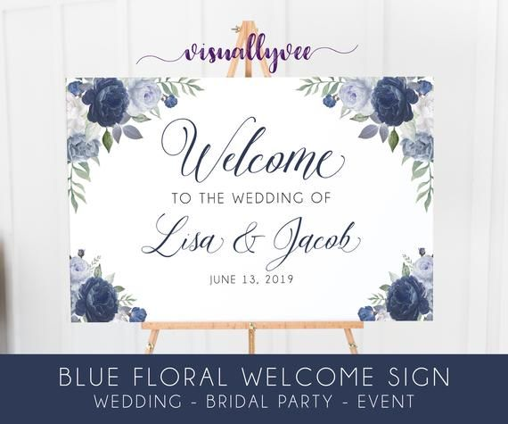Blue Floral Welcome Sign, Blue Peonies & Roses, Navy Floral - Wedding Welcome - Bridal Shower Welcome - Event Welcome Sign #bluepeonies