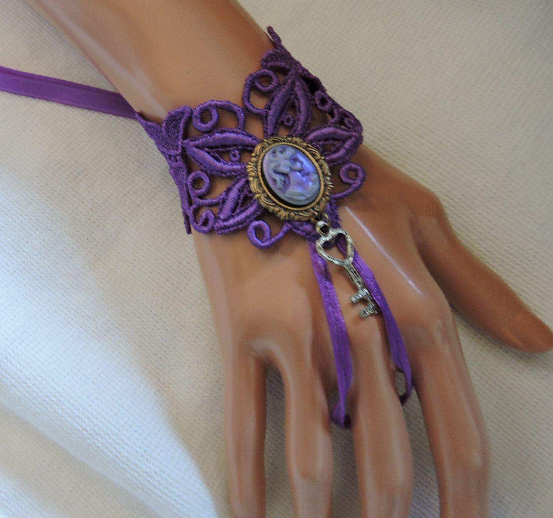 Unique purple cameo key hart bracelet tattoo cover wedding bride